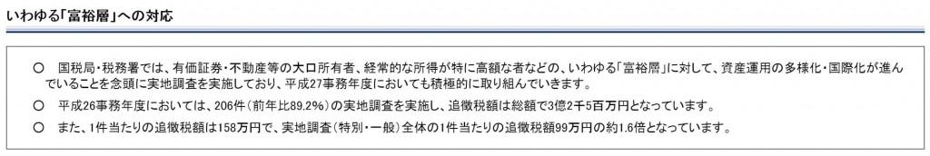 札幌国税庁富裕層への対応結果